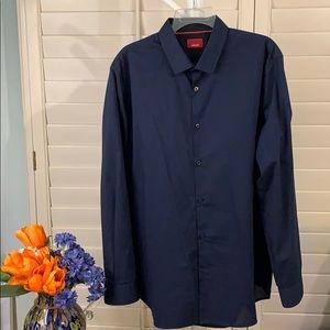 Handsome, mini-checkered blue/black dress shirt.